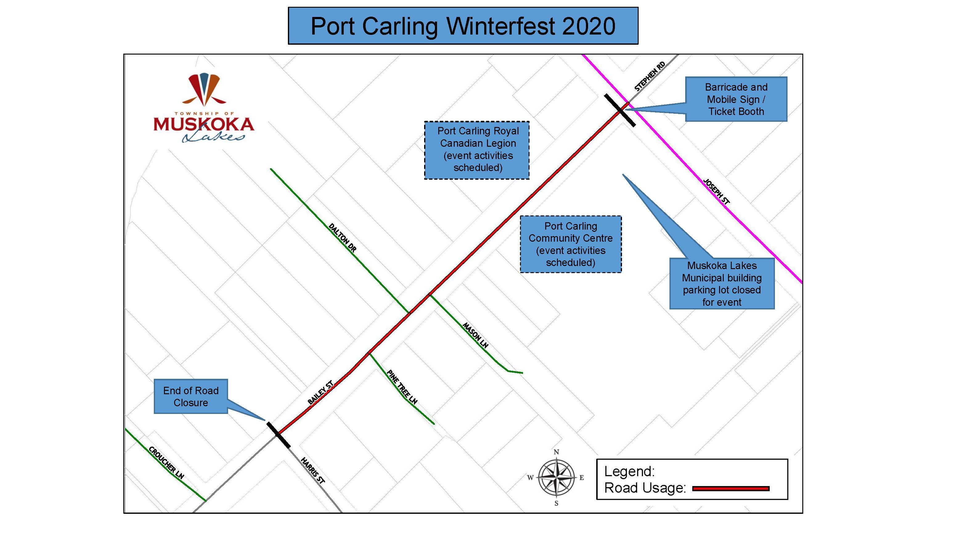 map of port carling winterfest road closure on Bailey Street from Joseph Street to Harris Street