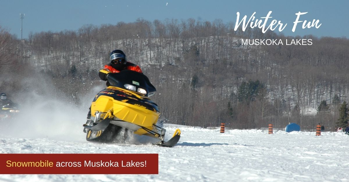 snowmobiling across lake
