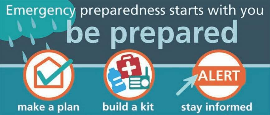 emergency preparedness starts with you. Be prepared. Make a plan, build a kit, stay informed.