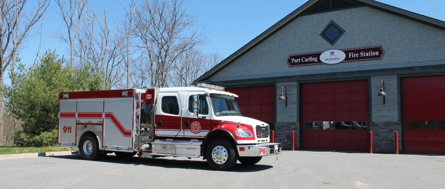 fire truck in front of Port Carling station
